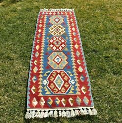Turkish Anatolian Aztec Nomadic Runner Kilim Red Blue Color Bohemian 2x6ft. $341.25