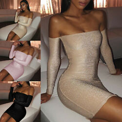 Justchicc Solid Sexy Short Dress Women Bodycon Long Sleeve Party Dresses Club $20.99
