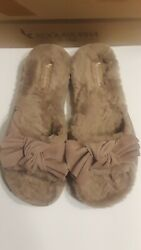 UGG Koolaburra Women#x27;s Fur Bow Slide Slippers light Brown NIB SZ 10 $39.95