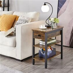 Modern End Table with Drawer and Shelves Bedside Table Nighstand Accent Table $61.99