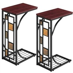 2 Pcs C Shaped Sofa Side End Tables Under Sofa Coffee Tray Living Room Set of 2 $43.99