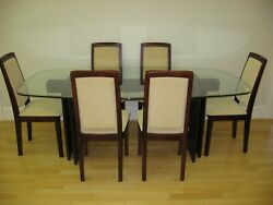 82quot; Oval Glass and Wood Dining Table only Seats 6 people Local Pick Up $375.00
