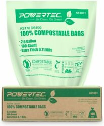 POWERTEC ASTM D6400 Certified Compostable Bags 2.6 Gallon Trash Bags100 Count $13.56