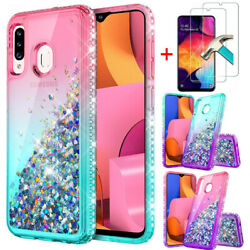 For Samsung Galaxy A20S Case Glitter Bling Shockproof Cover Tempered Glass $7.99