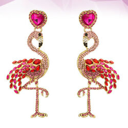 1 Pair Flamingo Shaped Earrings Stylish Ear Accessories for Female Lady Women $6.88