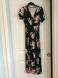 Womens Black Ans Floral Long Maternity Dress Size M $15.00