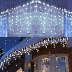 CHRISTMAS LED WHITE SNOWING ICICLE BRIGHT PARTY WEDDING XMAS OUTDOOR LIGHTS USA