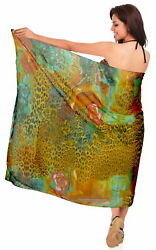 LA LEELA Sheer Chiffon Bathing Women Wrap Sarong Digital 72quot;X42quot; Orange 1087 $11.99