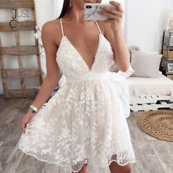 Justchicc Lace Mesh Mini White Dress Women V Neck Wedding Party Sexy Dresses $25.99