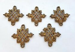 Lot of 5 Antique Cast Iron Hanging Oil Lamp Parts Chain link $39.00