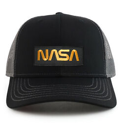 NASA Worm Gold Text Patch 6 Panel Two Tone Mesh Back Trucker Cap FREE SHIP $19.99