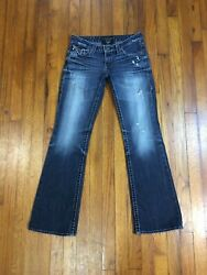 Big Star Womens LIV Boot Blue Denim Distressed Jeans TAG 27R Act Size 30W x 31L $33.50