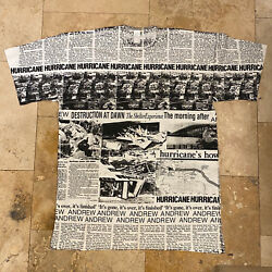 Vintage Hurricane Andrew All Over Print T Shirt Size XL Single Stitch 90s AOP $90.00