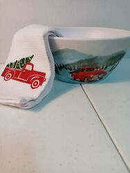 Holiday Red Truck Salad Serving Bowl With Coordinating Kitchen Hand Towel $10.50