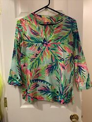 "LILLY PULITZER XS Amelia Island Tunic Top Blouse Multi ""Island Timequot; $88 $35.00"