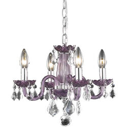 CRYSTAL CHANDELIER PURPLE BEDROOM BATHROOM DINING LIVING ROOM HALLWAY 4 LIGHT $156.00