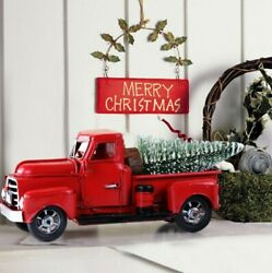 Vintage Metal Classic Rustic Pickup Truck Christmas Tree Home Office Decor Red $15.90
