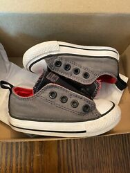 Converse All Star Toddler CT Simple Slip On Thu Grey Black Red Low Size 5 $19.99