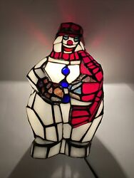 "Tiffany Accent lamp Style Stained Glass 11"" frosty the snowman Christmas Light $98.00"