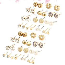 24 Pairs of Stylish Ear Studs Pearl Ear Stud Fashion Earring Creative Alloy Ear $6.97