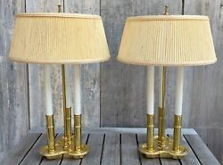 Vintage Pair Stiffel French Style Brass Bouillotte 3 Light Table Lamps w Shades $295.00