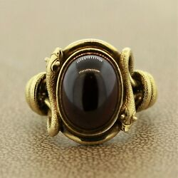 Antique Style Garnet Gold Snake Cocktail Ring Aprox 10.00 Carats 18k Yellow Gold $5850.00