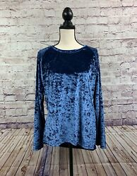 Urban Coco Womens Blue Crushed Velvet Long Sleeve Pullover Top Size Large $19.99
