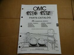 1990 OMC 25 HP commercial parts catalog book manual Johnson Evinrude 433749