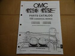 1990 OMC 155 HP commercial parts catalog book manual Johnson Evinrude 433769