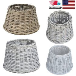 Home Garden Handmade Wicker Lamp Shades with Metal Frame Natural Brown White $24.36