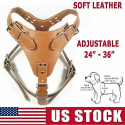 Soft Quality Leather Harness for Dog Pitbull Large Adjustable Strap 26quot; 34quot; $30.09