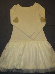 Girls Dress by CHASING FIREFLIES Sz 10 12 Ivory Beige w LACE Skirt amp; HEARTS $13.50