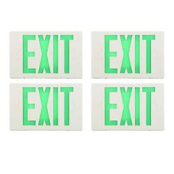 4 Pack Green LED Emergency Exit Sign Battery Backup Commercial Light Fixtures