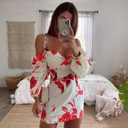 Floral Print V Neck Women Short Dress Sexy Casual Birthday Party Dresses Street $27.99