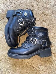 Harley Davidson Women#x27;s Tegan Low Cut Black Leather Biker Boots size 6 EUC $60.00