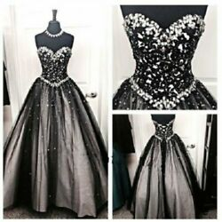 Gothic Wedding Dresses Black and White Sparkly Crystals Beaded Lace Bridal Gowns