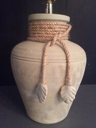 """Gorgeous Modern Handmade Lamp Pottery Cream Signed 28""""x9"""" textured Large $40.00"""
