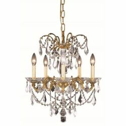 CRYSTAL CHANDELIER FRENCH GOLD FOR FOYER DINING LIVING ROOM KITCHEN 5 LIGHT 19quot; $1206.00