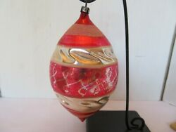 VINTAGE Glass Tear Drop with Swirl Ornament POLAND 5quot; Tall $11.99