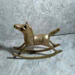 Vintage Brass Rocking Horse Mid Century Holiday Christmas Boho Nursery Decor $16.88