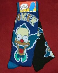 NEW MENS quot;THE SIMPSONS KRUSTY THE CLOWN 2 PAIR NOVELTY SOCKSquot; Shoe Size 6 12 $9.94
