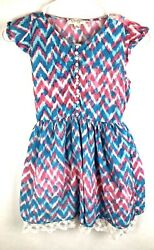 Jessica Simpson Girls Dress Size M Blue Pink White Short Sleeve Buttons Chevrons $12.99