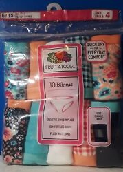 Fruit Of The Loom Girls Bikini Panties Size 4 Underwear 10 Pairs $12.99