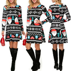 Women Long Sleeve Christmas Print A line Dress Costume Crew Neck Party Dresses $24.69