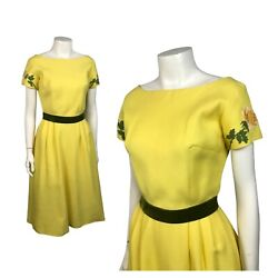1960s Yellow Dress Floral Embroidery Party Dress Short Sleeves XS $89.00