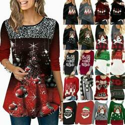 Plus Size Women Christmas Santa Sweatshirt Pullover T Shirt Blouses Xmas Tops US $22.83