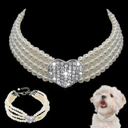 Cute Pet Dog Bling Rhinestone Pearl Collar Fancy Crystal Jewellery Dogs Necklace $8.69