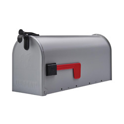 Gray Post Mount Mailbox Medium Steel Heavy Duty Curbside Storage Box Gibraltar $15.99