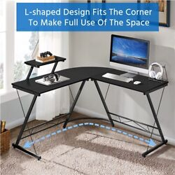 51.2quot; L Shaped Corner Desk Computer Gaming Desk Writing Table for Home Office $69.99