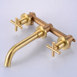 Retro Bathroom Brass Sink Bathtub Faucet Mixer Tap Wall Mount Brushed Gold Tap $41.58